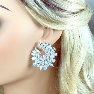 Bridal hoop diamond crystal earrings